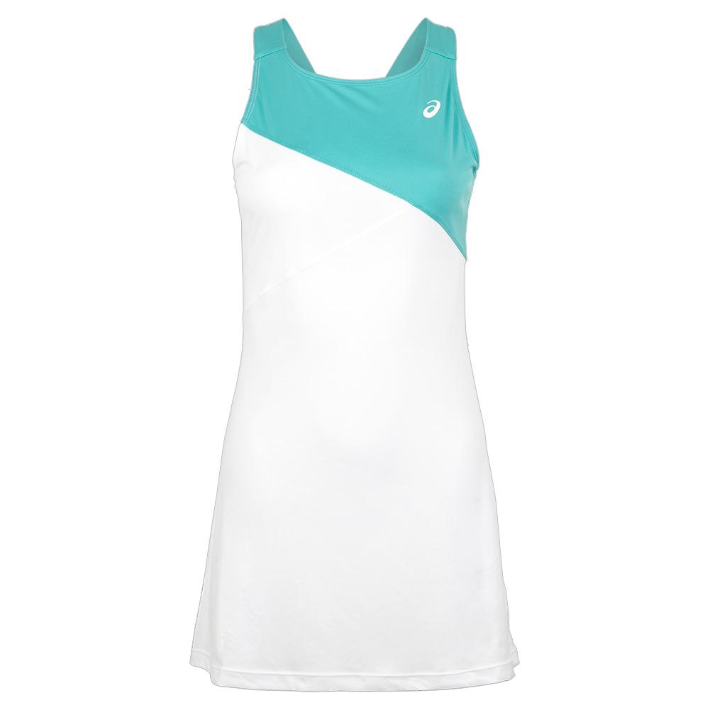 Women's Club Tennis Dress Brilliant White And Techno Cyan