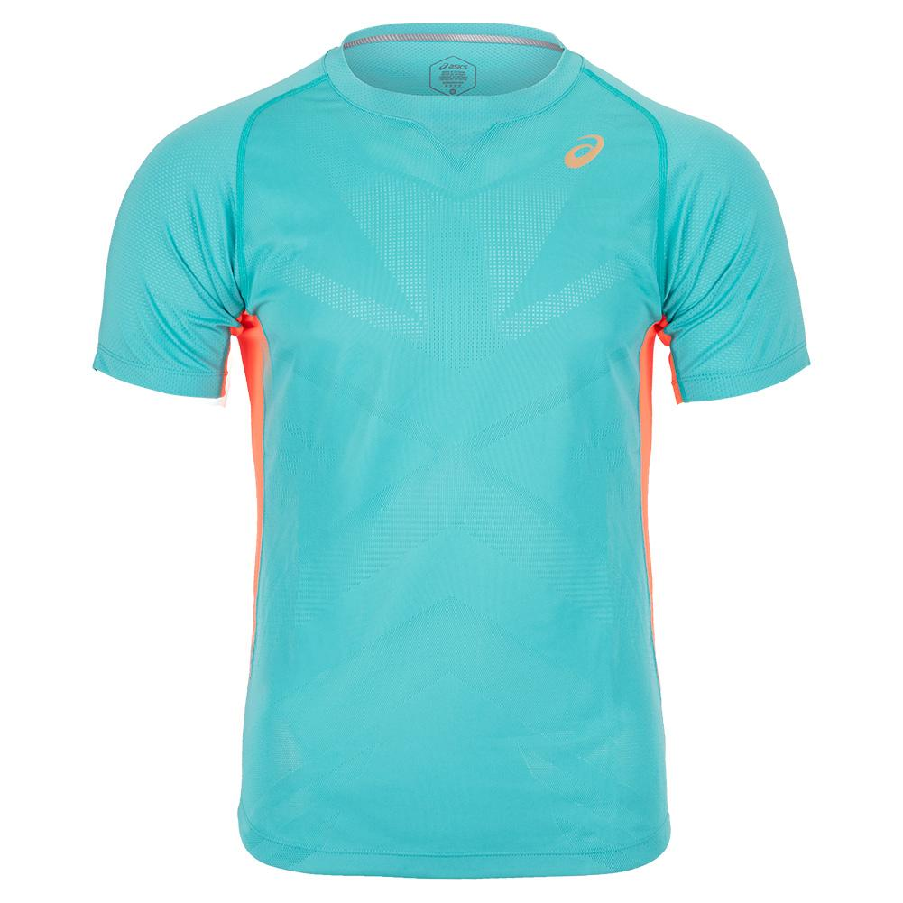 Men's Short Sleeve Tennis Top Techno Cyan