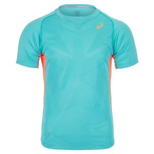 Men`s Short Sleeve Tennis Top Techno Cyan