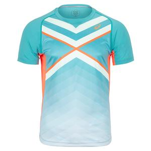 Men`s Graphics Tennis Top Techno Cyan