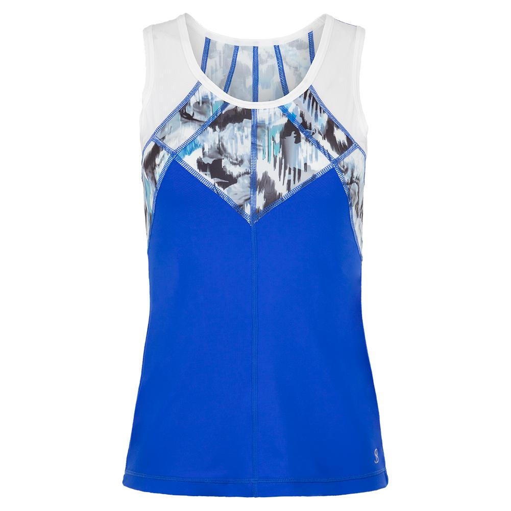Women's Full Back Tennis Top Royal Waters And Mineral