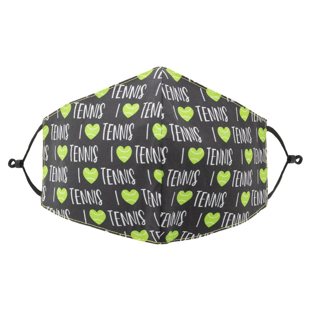 Reversible Tennis Face Mask Black And I < 3 Tennis Print