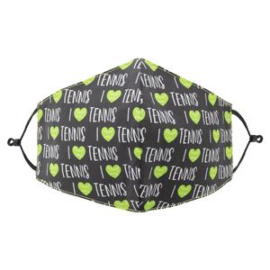 Reversible Tennis Face Mask Black and I <3 Tennis Print
