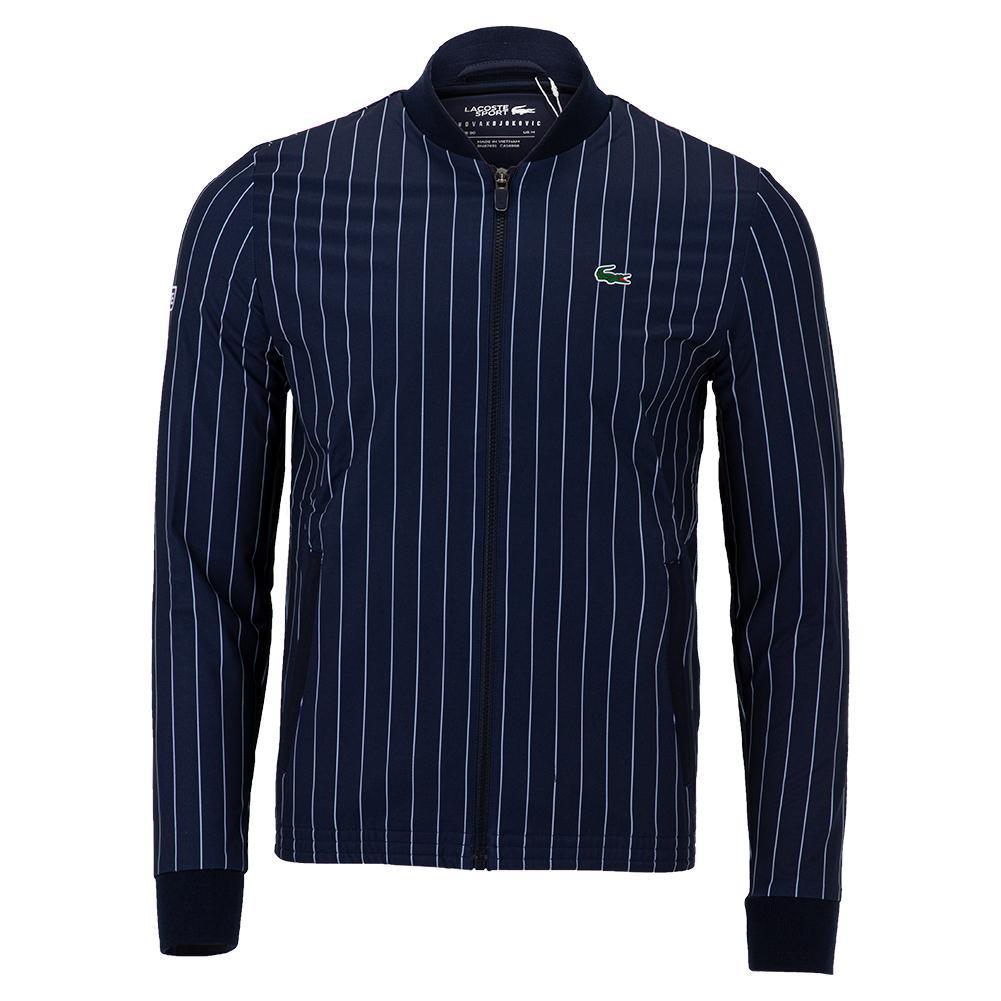 Men's Novak Djokovic Blouson Tennis Jacket Navy Blue And White