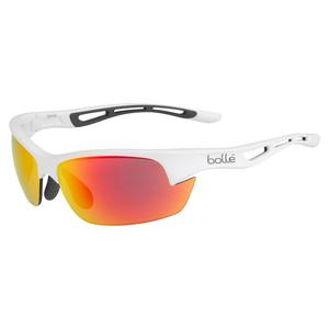 Bolt S Tennis Sunglasses Matte White and Brown Fire