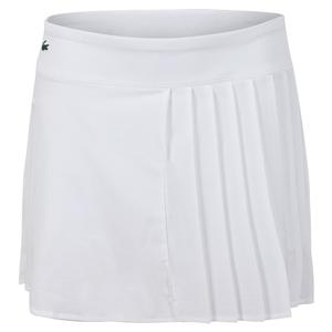 Women`s Asymmetrical Pleated Tennis Skirt White
