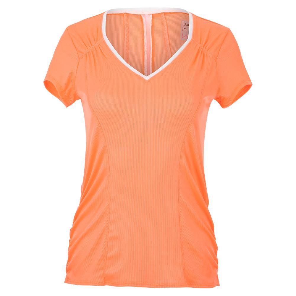 Women's Rib Uplift Short Sleeve Tennis Top Orange Frost