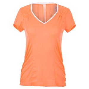 Women`s Rib Uplift Short Sleeve Tennis Top Orange Frost