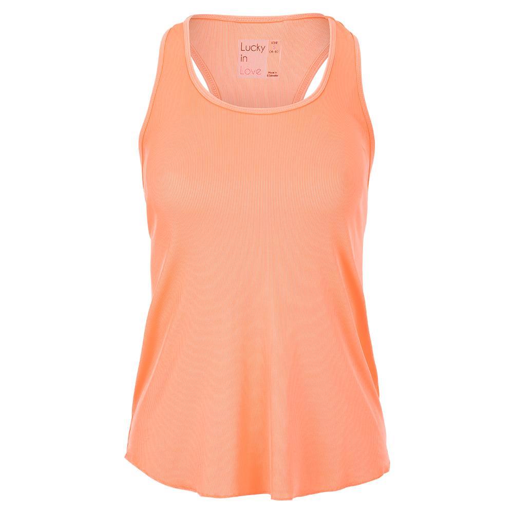 Women's Back Mesh Rib Tennis Tank Orange Frost