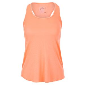 Women`s Back Mesh Rib Tennis Tank Orange Frost