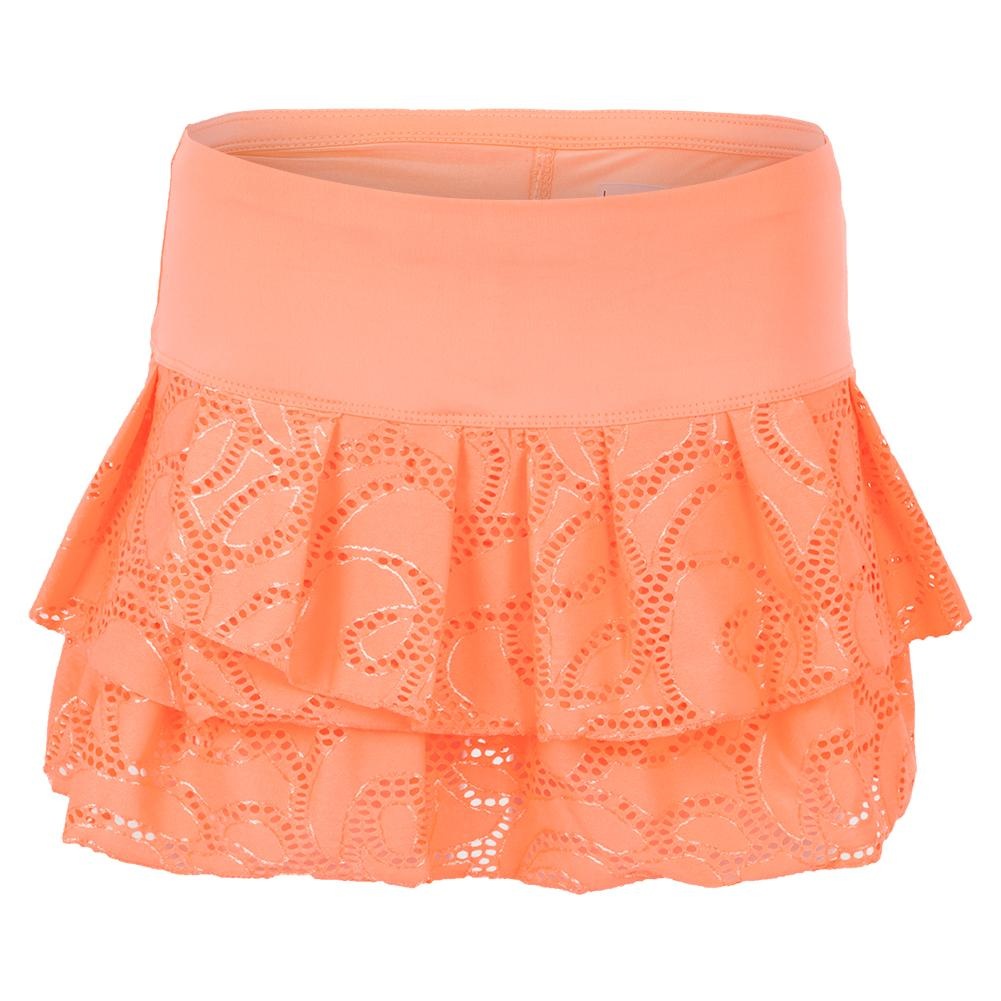 Women's Lace Pleat Tier Tennis Skort Orange Frost
