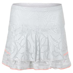 Women`s Long Lace Line Tier Tennis Skort White
