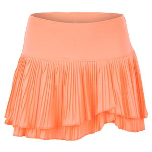 Women`s Long Effortless Pleated Tennis Skort Orange Frost