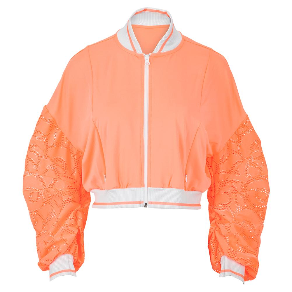 Women's Lace Cropped Tennis Bomber Jacket Orange Frost