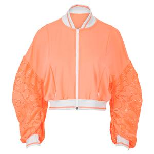 Women`s Lace Cropped Tennis Bomber Jacket Orange Frost