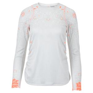 Women`s Eyelet Go Long Sleeve Tennis Top Orange Frost