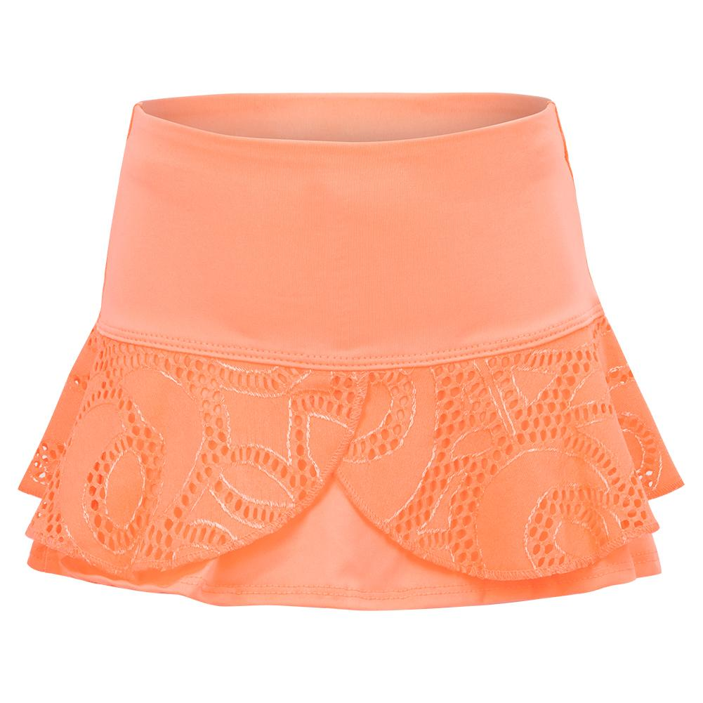 Girls ` Lace Flounce Tennis Skort Orange Frost