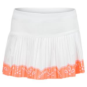 Girls` Eyelet Border Pleated Tennis Skort Orange Frost