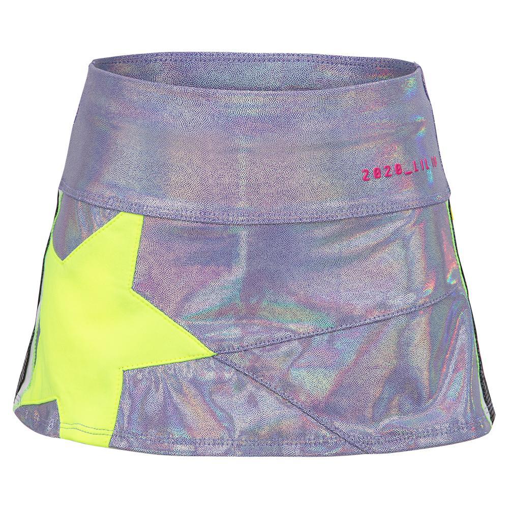 Girls ` Mini Starlight Tennis Skort Lilac And Neon Yellow