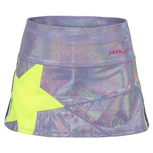 Girls` Mini Starlight Tennis Skort Lilac and Neon Yellow