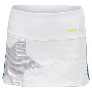 Girls` Mini Shining Star Tennis Skort White and Iridescence