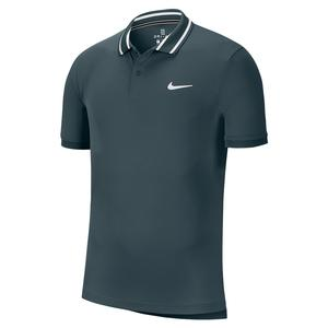 Men`s Court Dry Pique Tennis Polo Dark Atomic Teal and White