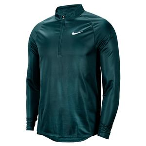 Men`s Court Challenger Long Sleeve Half Zip Tennis Top Dark Atomic Teal