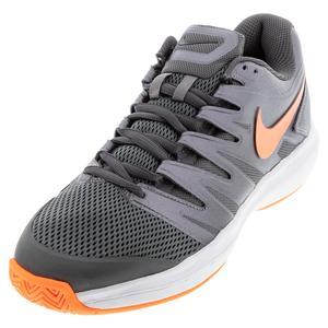 Men`s Court Air Zoom Prestige Tennis Shoes MTLC Dark Grey and Total Orange