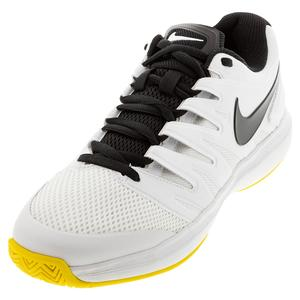 Men`s Court Air Zoom Prestige Tennis Shoes White and Speed Yellow