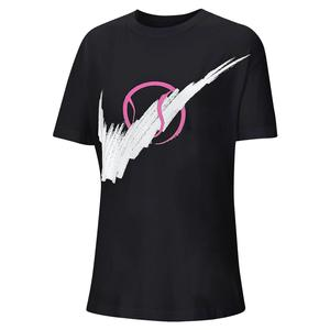 Women`s Court Tennis Tee Black and White