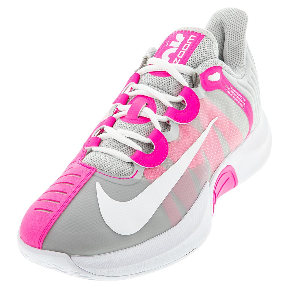 Women's Court Air Zoom Gp Turbo Tennis Shoes Grey Fog And Pink Blast