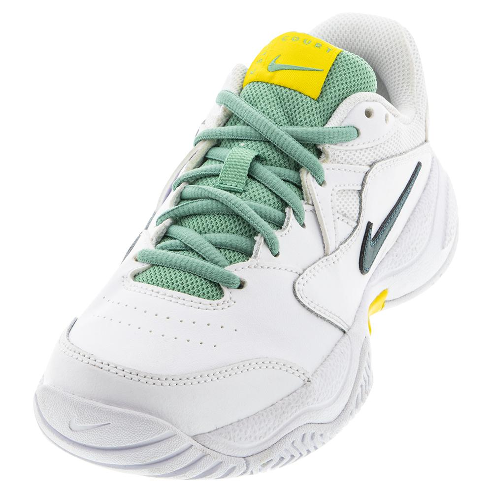 Juniors ` Court Lite 2 Tennis Shoes White And Dark Atomic Teal