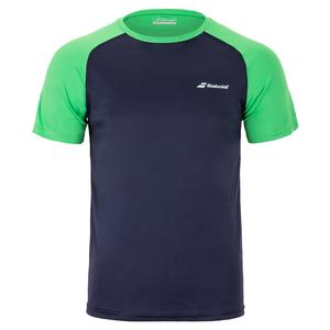 Men`s Play Crew Neck Tennis Tee Peacoat and Poison Green