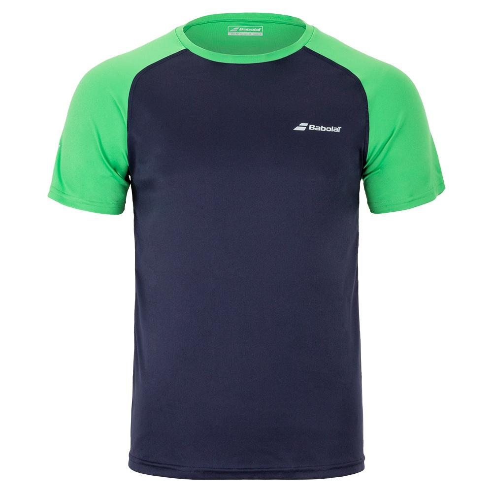 Boys ` Play Crew Neck Tennis Tee Peacoat And Poison Green
