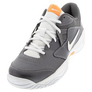 Men`s Court Lite 2 Tennis Shoes Metallic Dark Grey and White