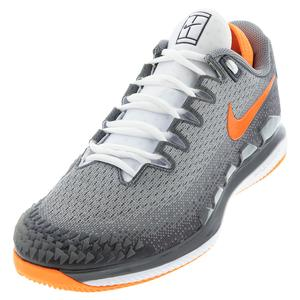 Men`s Court Air Zoom Vapor X Knit Tennis Shoes MTLC Dark Grey and Total Orange