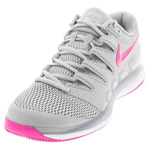 Women`s Air Zoom Vapor X Tennis Shoes Grey Fog and Pink Blast