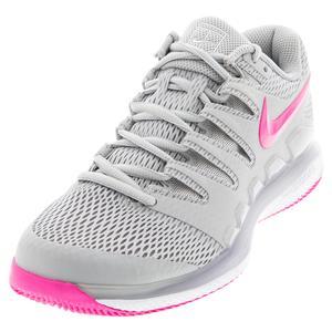 Women`s Air Zoom Vapor X Tennis Shoes Grey Fog and Pink Blast