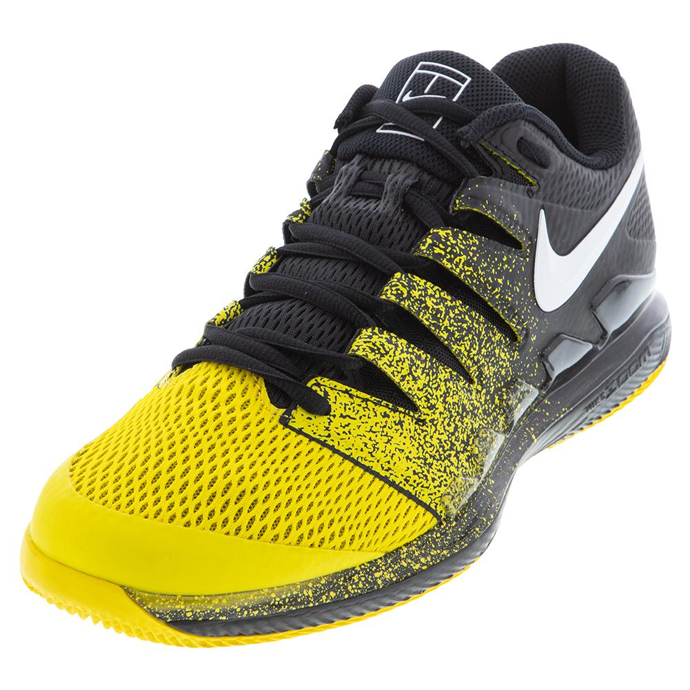 Men's Court Air Zoom Vapor X Tennis Shoes Black And Speed Yellow