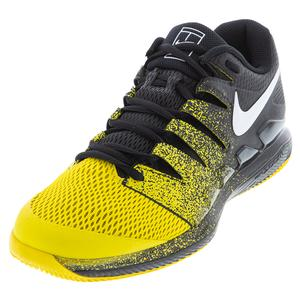 Men`s Court Air Zoom Vapor X Tennis Shoes Black and Speed Yellow