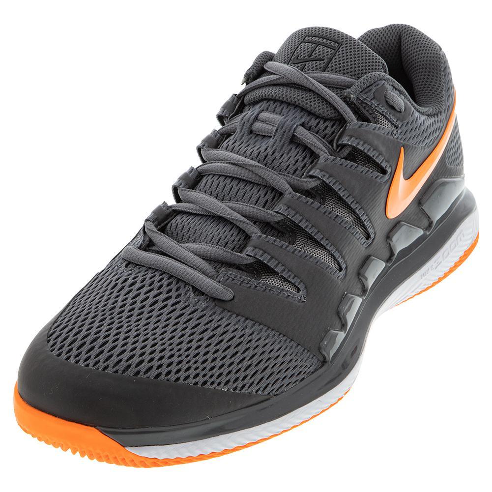 Men's Court Air Zoom Vapor X Tennis Shoes Mtlc Dark Grey And Total Orange