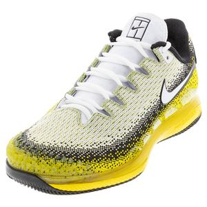 Men`s Court Air Zoom Vapor X Knit Tennis Shoes Black and Speed Yellow