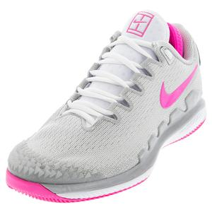 Women`s Court Air Zoom Vapor X Knit Tennis Shoes Light Smoke Grey and Pink Blast
