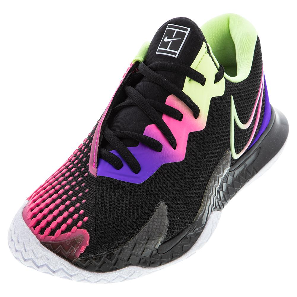 Women's Court Air Zoom Vapor Cage 4 Tennis Shoes Black And Liquid Lime