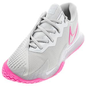 Women`s Court Air Zoom Vapor Cage 4 Tennis Shoes Grey Fog and Pink Blast