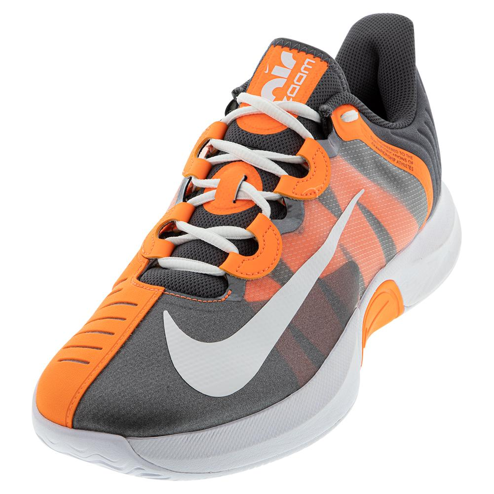 Men's Court Air Zoom Gp Turbo Tennis Shoes Mtlc Dark Grey And Total Orange