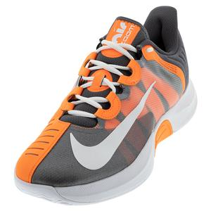 Men`s Court Air Zoom GP Turbo Tennis Shoes MTLC Dark Grey and Total Orange