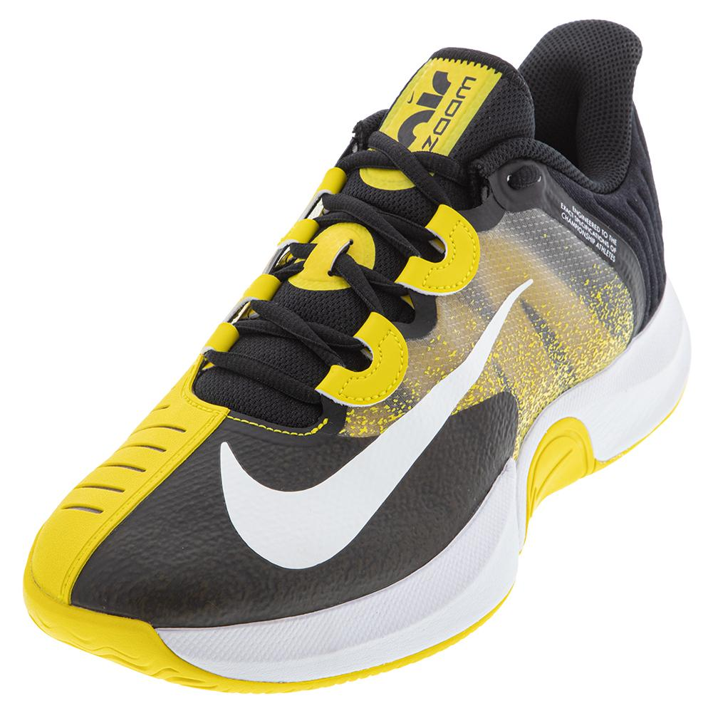 Men's Court Air Zoom Gp Turbo Tennis Shoes Black And Speed Yellow