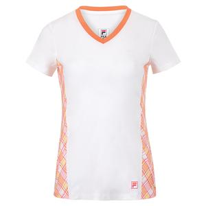 Women`s Mad for Plaid Short Sleeve V-Neck Tennis Top