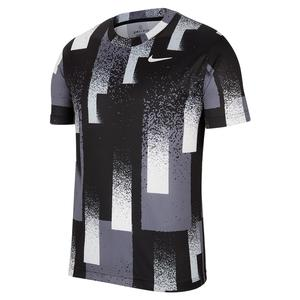 Men`s Court Dry Printed Tennis Top Black and White